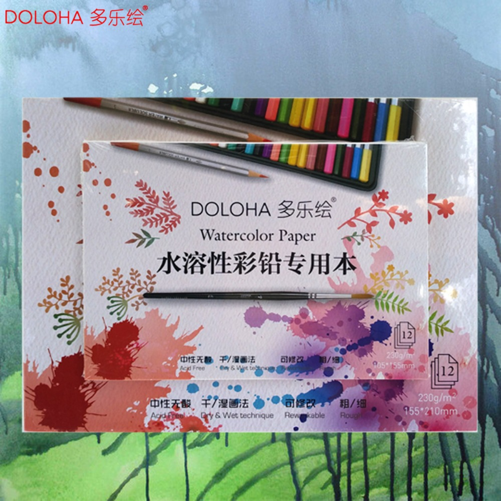 12 Sheets 230gsm Sketchbook Stationery Watercolor Paper Pad Sketch Color Pencil Note Book for Paiting Drawing Acid Free kicute 1pc art thick blank paper sketchbook drawing book for drawing painting sketch scrawl student stationery pattern random