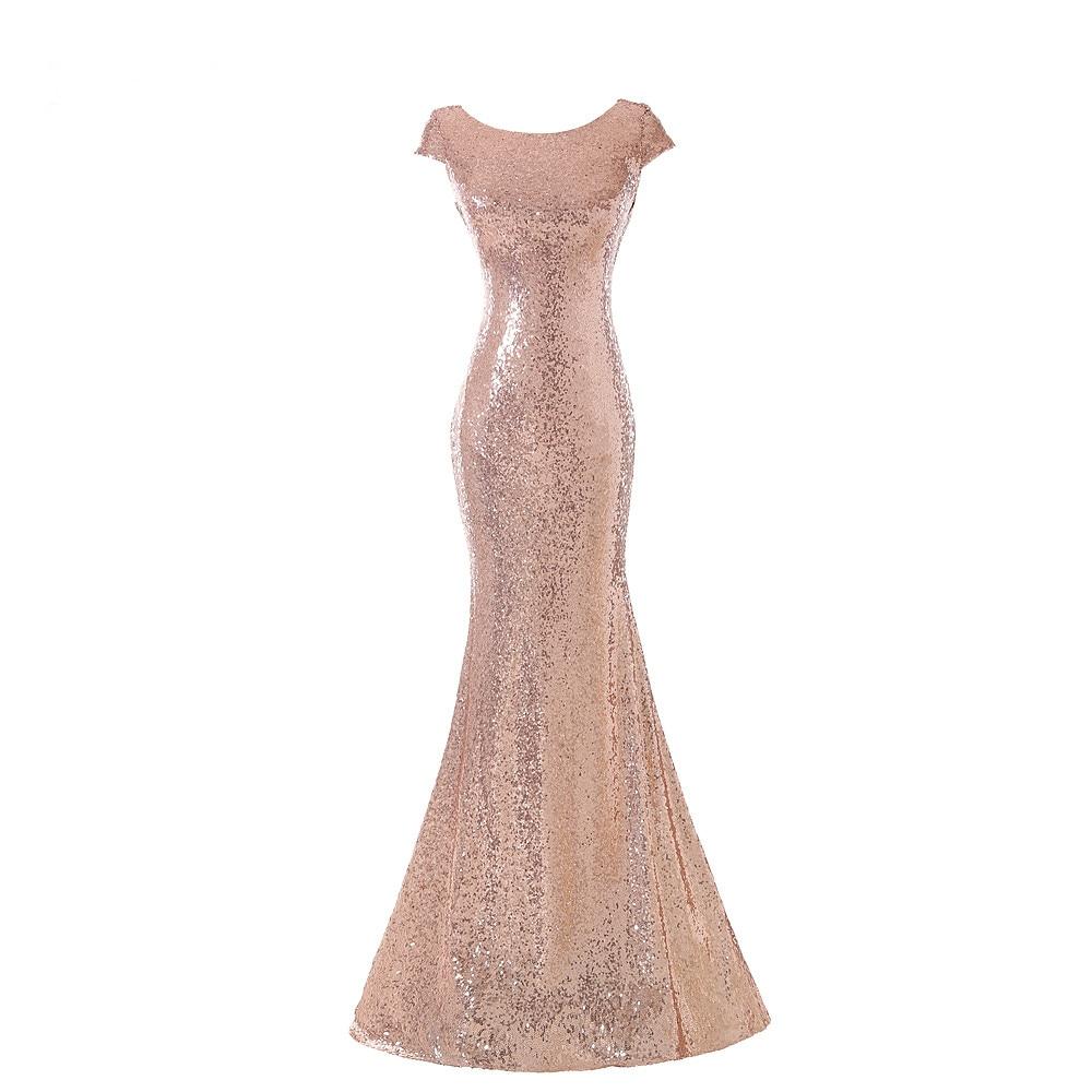 Favordear Prom Gowns Vestido De Festa Curto Sexy Off Shoulder Mermaid Rose Gold Sequin Floor-length Long   Bridesmaid     Dress