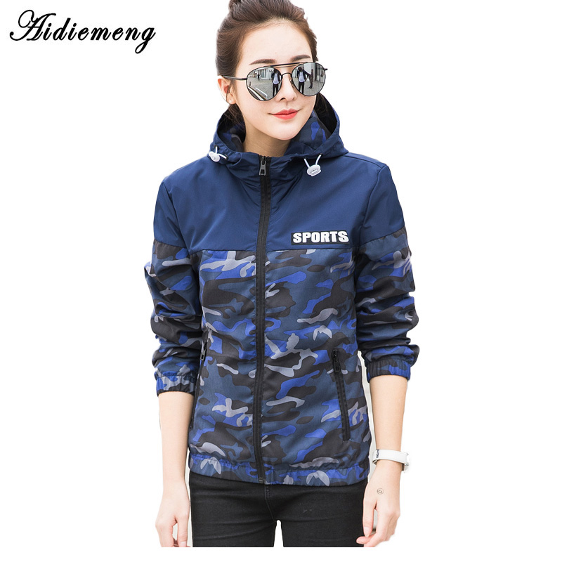 Aidiemeng Jacket Women Windbreaker 2018 Autumn Fashion Camouflage Women Basic Jacket Coat Hooded Female Casual Thin Coat Outwear