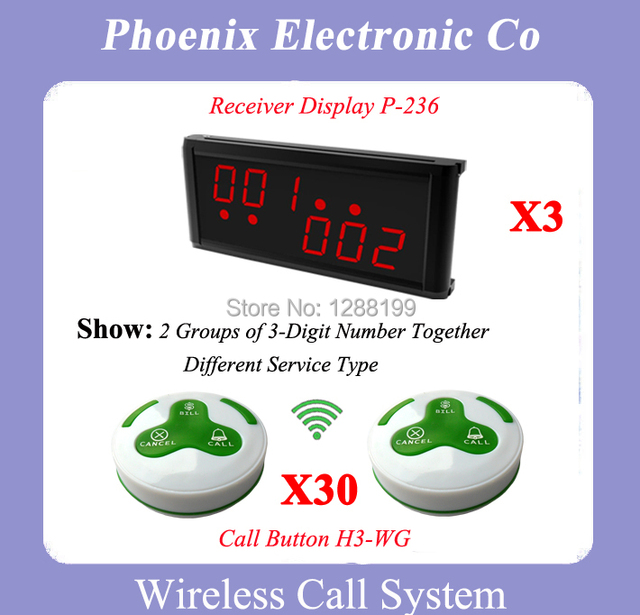 Sistema de Llamada de Buscapersonas inalámbrico Transmisor Con 30 Campanas de Mesa Colorido P-236 H3-WG 3 Pantalla Inalámbrica DHL Envío Libre