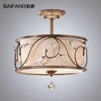 Lámpara de techo de tela de estilo americano  lámpara de cristal rústico  lámpara de techo de hierro artístico