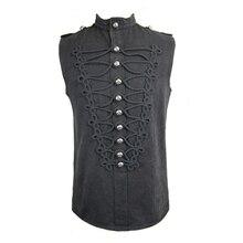 Devil Fashion Gothic Black Sleeveless O-Neck Single Breasted Men Vest Steampunk Summer Handsome Tops Shirts