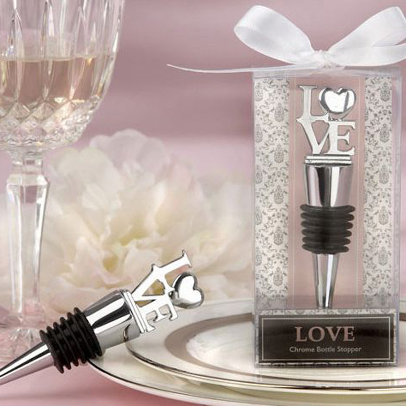 100PCS LOT Elegant Love Heart Shaped Red Wine Bottle Stopper Twist Wedding Favors Gifts Event and