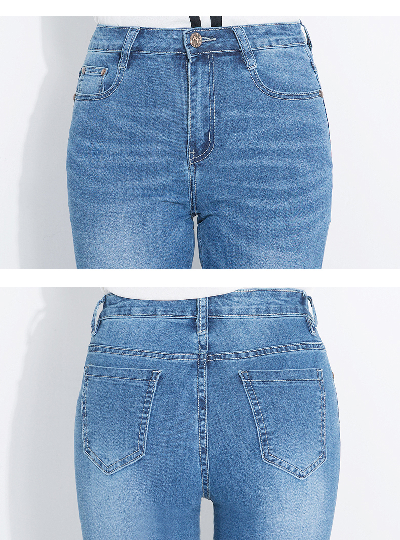 KSTUN FERZIGE Women Jeans 2018 Fashion High Waist Straight Slim Stretch Embroidery Letters Heat Pattern Pleated Cuffs Trousers Ankle 19