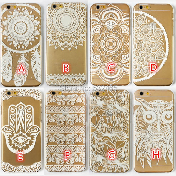 half off 31aaa 8d7c4 US $60.0 |for Iphone 4 4S 5 5S 5C White Henna Cases Hard Clear Plastic  Henna White Mandalas Flower Flower Cases Covers Skin 50pcs DHL on ...