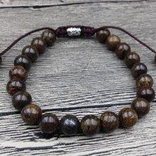 YA2469 бронзит лунный камень бусины браслет из тибетского Серебра Талисманы для мужчин Исцеление браслет шнур узел Регулируемый 8 мм