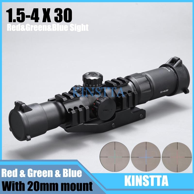 KINSTTA Tactical 1.5-4x30 di Ripresa di Portata del Fucile w/RGB illuminato A Ferro di Cavallo del Reticolo con Offset Supporto Del Tessitore anello di supporto fit VEG47 T15