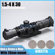 KINSTTA Taktische 1,5-4×30 Schießen Zielfernrohr w/RGB beleuchtet Hufeisen Absehen mit Offset Weber-einfassung Ring fit VEG47 T15
