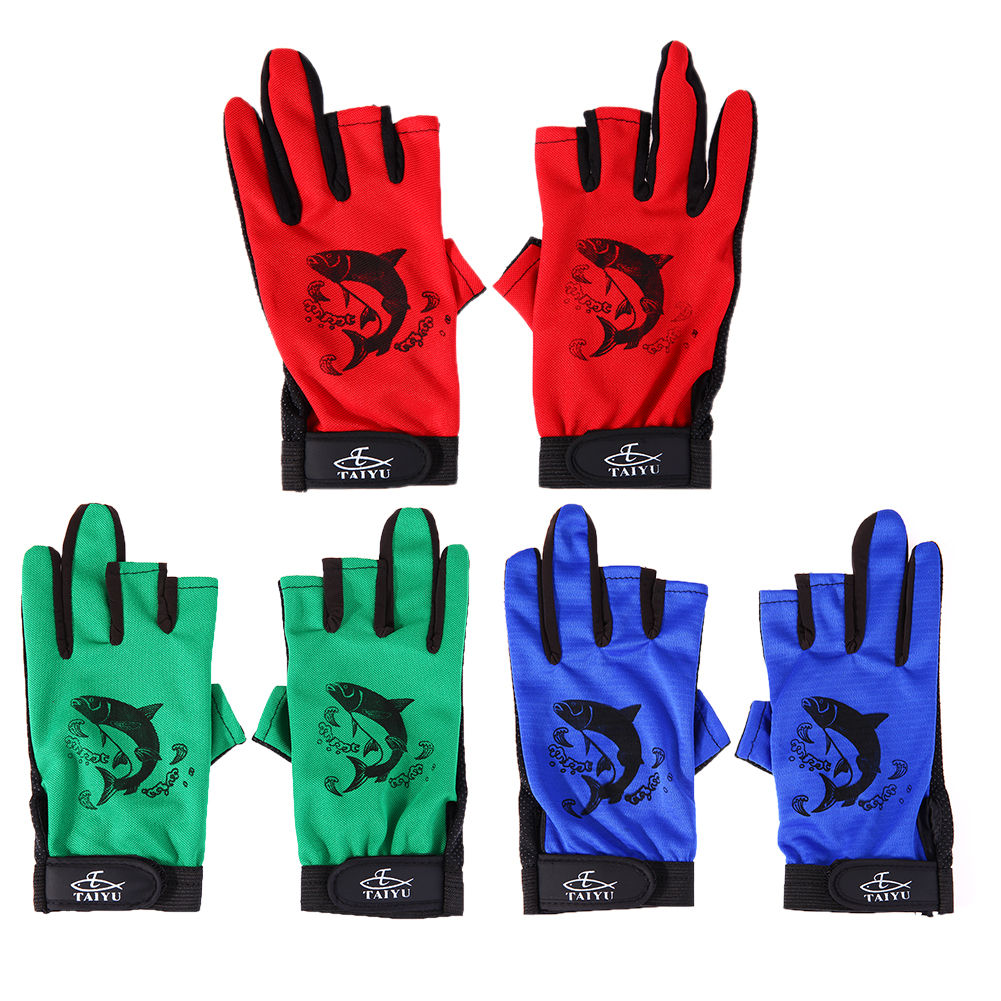 1 Pair Anti-slip Fishing Gloves Three Fingerless Soft and Breathable Gloves For Fishing Cycling Climbing Outdoor Sports dasnaki anti slip fishing gloves 3 fingers cut fingerless gloves casting fishing outdoor sports breathable fishing gloves