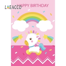 Yeele Unicorn Rainbow Baby Child Photography Backdrops Birthday Party Customized Name Photographic Backgrounds For Photo Studio