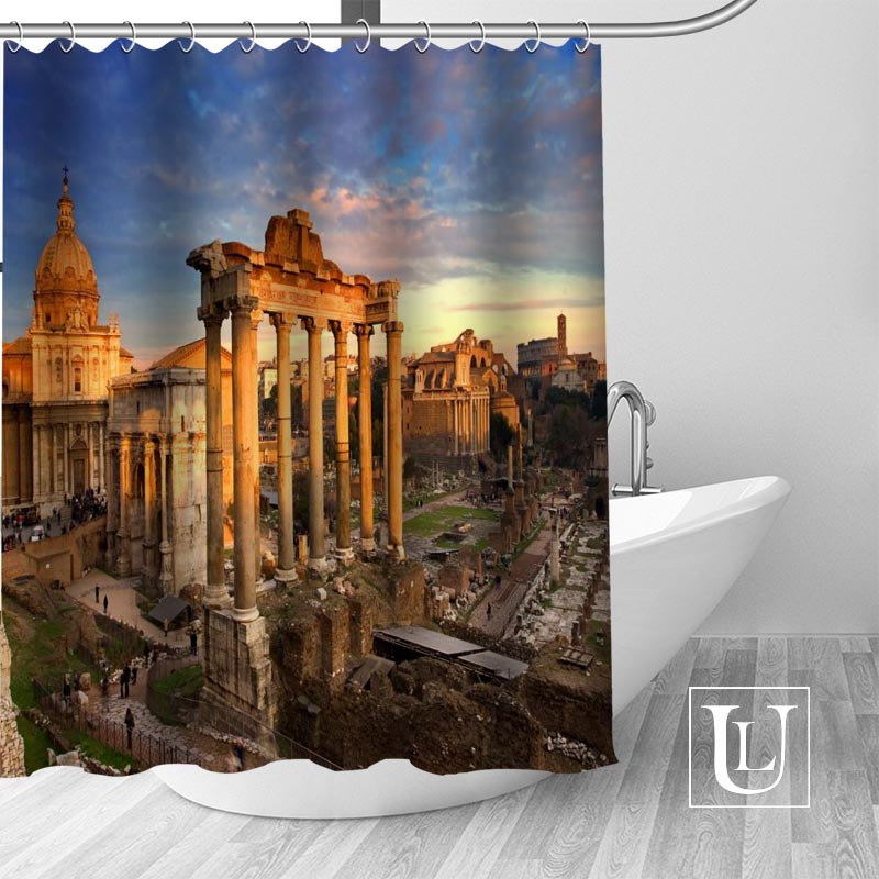 Ancient Temple Magnificent Building Fabric Waterproof Bathroom Shower Curtain