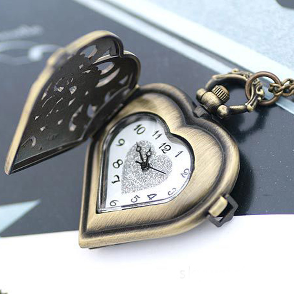 Fashion Hollow Heart  Silver Hollow Quartz Heart Shaped Pocket Watch Necklace Pendant Chain Clock Women Gift High Quality #7-8