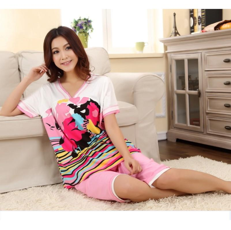 PIJAMA New V-Neck Modal Cotton women's sleepwear short sleeve summer female pajama set M,L,XL,XXL,3XL,4XL Plus Size