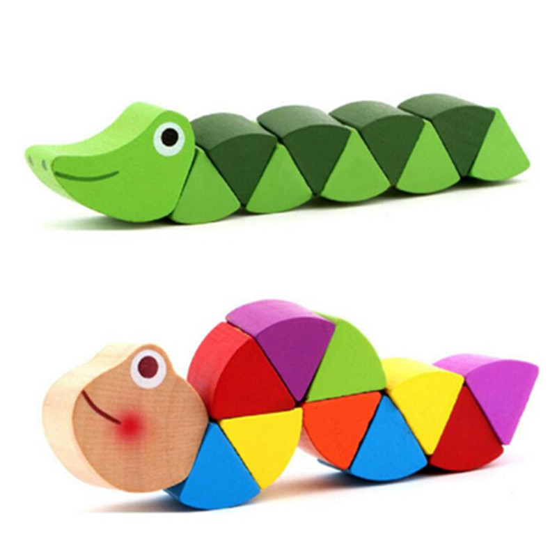 Montessori Toys Educational Wooden Toys for Children Early Learning Exercise Baby Fingers Flexible Wood Twist Insects Game