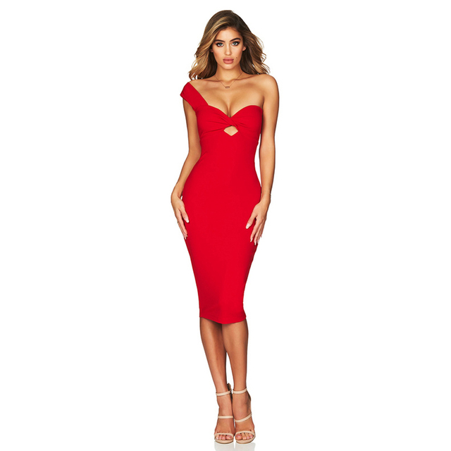 ADYCE 2019 New Summer Women Bandage Dress Vestido Celebrity Evening Party Dress Sexy Red One Shoulder Midi Hollow Out Club Dress