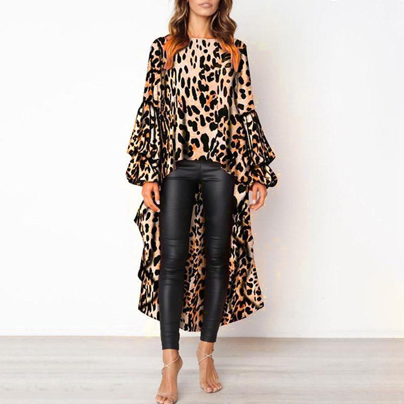 Spring Women Leopard Print Casual Long Dress Femme Robe Vestidos Lantern Sleeve Vintage Irregular Dress