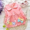 2015 New Autumn Bow Baby Kids Girls Children Infant Coat Jackets Outwear Trench Cardigan MT008