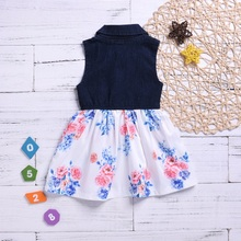 цены на Summer Casual Baby Girls Floral Pattern Sleeveless Patchwork Denim Dress Kids Girls Dress Kids Toddler Pageant Sundress 1  в интернет-магазинах