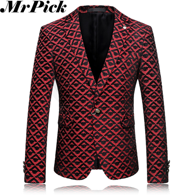 2016 вино-красный мужчины цветочные пиджаки костюм Homme свободного покроя пиджак мода тонкий цветок костюм T0010