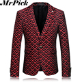 2016 New Wine Red Men Floral Blazers Costume Homme Casual Blazer Fashion Slim Flower Suit T0010