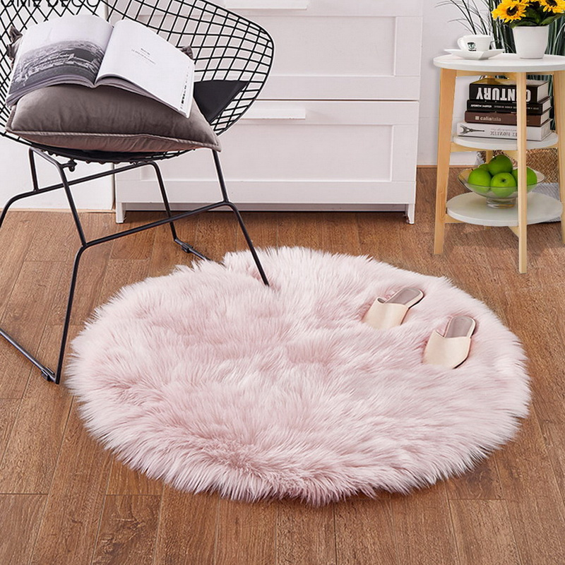 Round Soft Faux Fur Hairy Carpet Shape Artificial Sheepskin Rug Chair Cover Bedroom Wool Warm Mat diameter 50CM