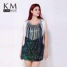 kissmilk 2016 Women Fashion Plus Size Tassel Hollow Out Party Club Pencil Summer Sequin Slim  Dress