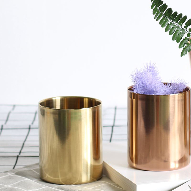 Ins Nordic Style Brass Gold Vase Stainless Steel Flower Vase Storage