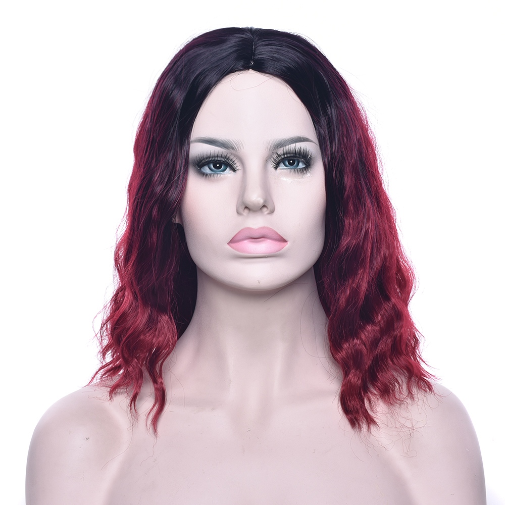 Soowee Curly Black To Burgundy Omber Wig Synthetic Hair Party Hair Red Brown Blonde Cosplay Wigs Hairpiece for Women