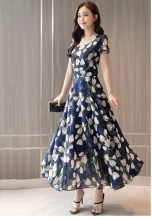 2019 Summer Korean Women  Slim Floral Print Dress Short Sleeve Long Chiffon Dresses Casual Beach