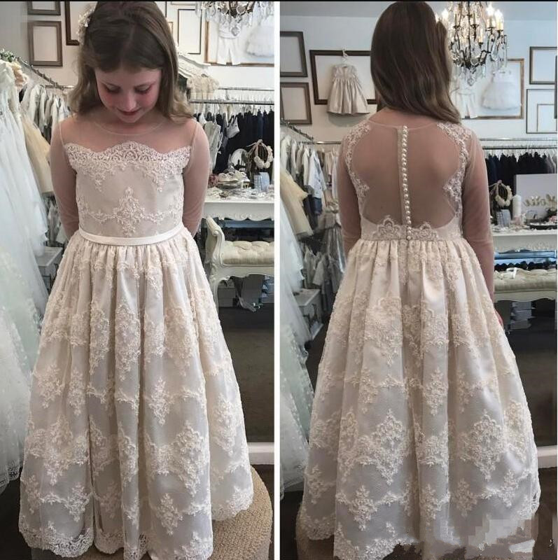 Well-Designed Princess   Dress   with Illusion Back and Sleeves Pearls Sheer Neck   Flower     Girl     Dress   For Wedding Ankle-Length Vestido