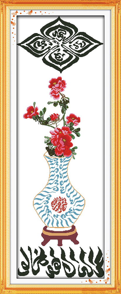 Blue and white porcelain cross stitch kit Islam Arab word Aida count 14ct 11ct printed embroidery DIY handmade needlework supply