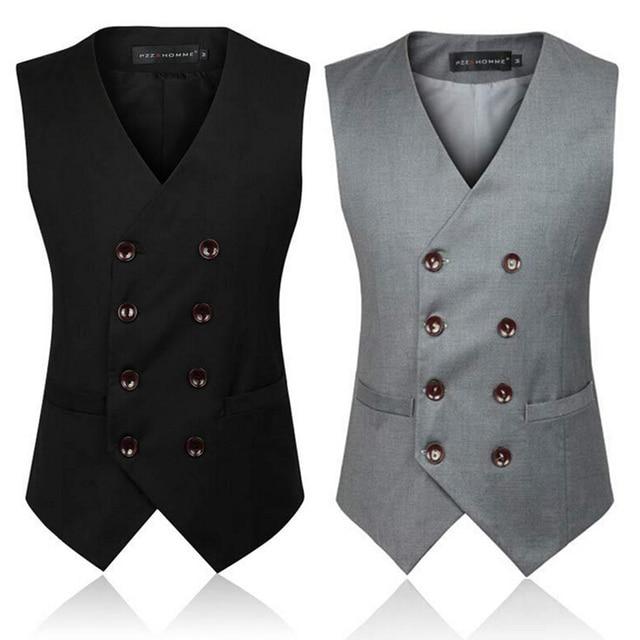 British Style Black Grey Big Size Fomal Sleeveless Blazer Male Waistcoat Double Breasted Suit Vest Men Plus Size 5XL,6XL