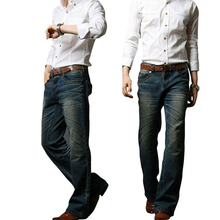 2018 Mens Flared กางเกงยีนส์ Boot Cut Flared Elastic Slim กลางเอวชายออกแบบคลาสสิก DENIM กางเกงยีนส์ Bell ด้านล่าง jeansMB16240