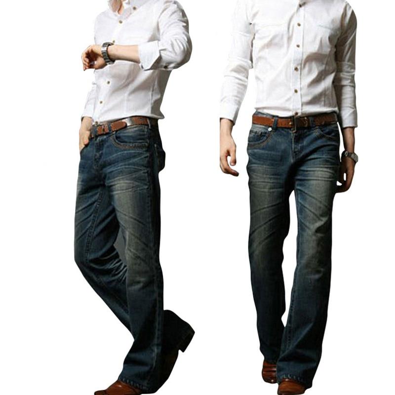 2018 Mens Flared Jeans Boot Cut Leg Flared Elastic Slim Fit Mid Waist Male Designer Classic Denim Jeans Bell Bottom JeansMB16240