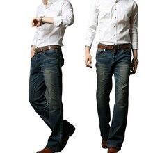 2018 Mens התלקח ג ינס אתחול לחתוך רגל התלקח אלסטי Slim Fit אמצע מותניים זכר מעצב קלאסי פעמון תחתון jeansMB16240