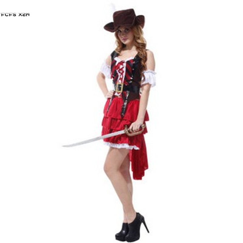 Woman Halloween Pirates Costumes Female Warrior Cosplays Carnival Purim parade Masquerade Nightclub Bar Role play party dress
