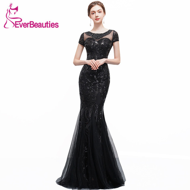 Evening Dress Long 2019 Mermaid Black Sequins with Tulle Robe De Soiree  Prom Party Dresses Elegant Evening Gowns ea3eac096415