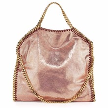 New listed input quality shaggy deer pvc shine rose golden chain luxury tote exclusive sale
