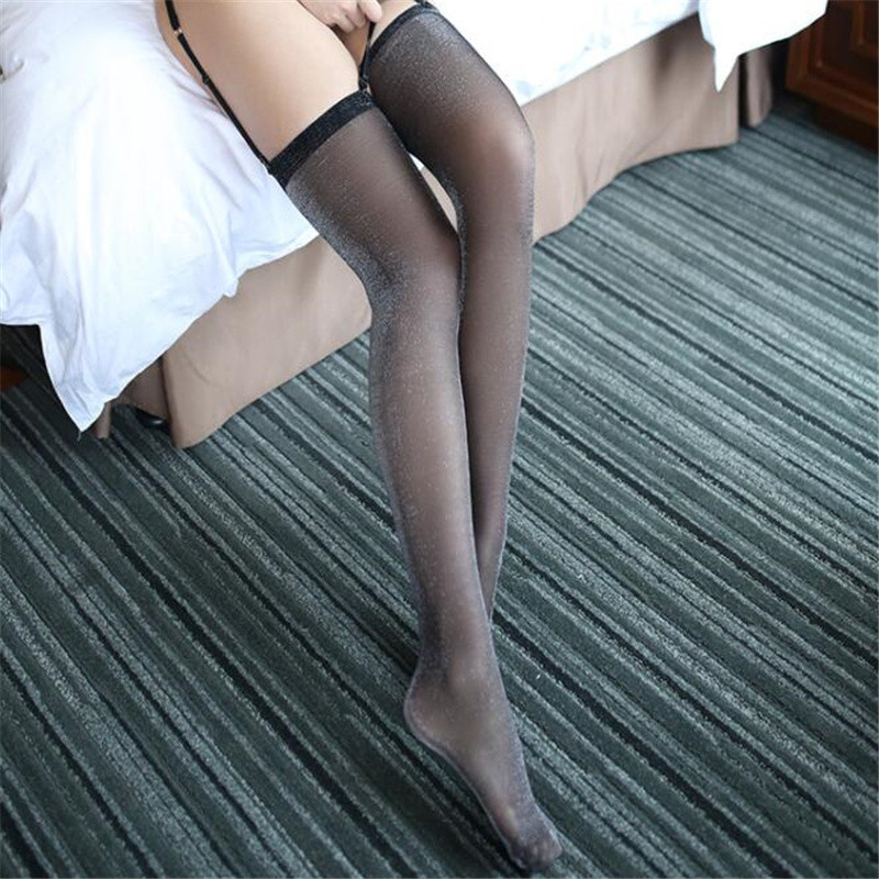 High Quality Oil Shiny Nylon Stockings Classic Rib Top Glitter Thigh High Stockings Women Sexy Over Knee Hosiery