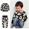 2015 nova moda meninos babys conjuntos de roupas mickey crianças roupas impresso t shirt leggings calças do bebê se adapte às crianças 2 pcs terno