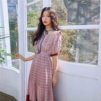 2019 Dress Sexy Celebrity Plaid Bow Mesh Women Elegant Short O Neck Night Club Bandage Body con Party Dress Wholesale