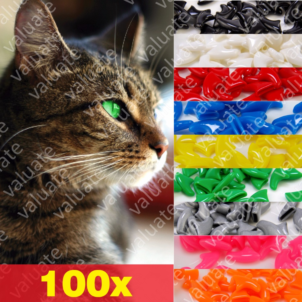 100pcs Value Soft Nail Caps For Cats With 5x Adhesive Glue And 5x Applicator, Size Xs, S, M, L, Claw, Cover, Paw, Wgy
