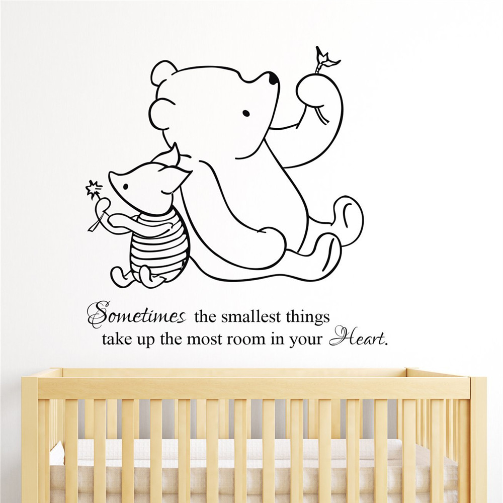 US $6.29 |multicolor Winnie the Pooh & Piglet home decoration Baby Quote  Wall Decal Nursery Removable Wall Stickers home decoration # T128-in Wall  ...