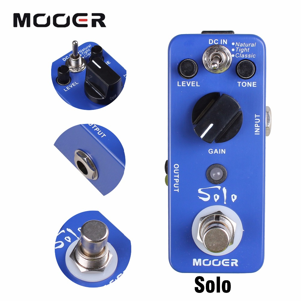 Mooer Solo High-gain Distortion Guitar Effect Pedal With 3 Working Modes Natural/Tight/Classic mooer flex boost guitar pedal with wide gain range boost enough working along as a best overdrive