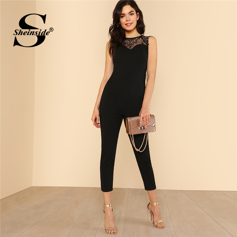 Sheinside Lace Yoke Keyhole Back Skinny Jumpsuit Women Round Neck High Waist Elegant Jumpsuit Summer Zipper Sleeveless Jumpsuit