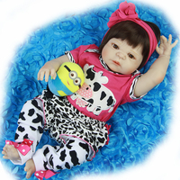 New lifelike 23'' Reborn Baby Dolls Toy Full Vinyl Body Babies Doll For Girl bebe 57 cm Waterproof Summer Kids Playmates Gifts