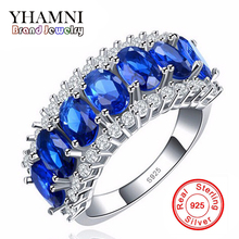 2017 New Fashion 925 Silver Sterling Ring Jewelry Blue CZ Zircon 10KT Vintage Party Engagement Wedding Rings For Women AR009