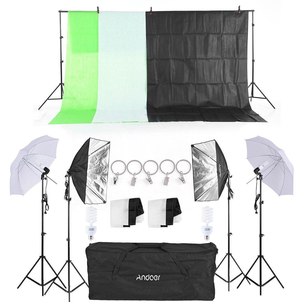 bilder für Russland Kostenloser versand Fotostudio Kit Softbox Regenschirm mit Lampenfassung Glühbirne Licht Ständer Schwarz Weiß Grün Bildschirm Hintergrund