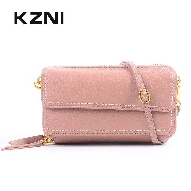 KZNI Genuine Leather Cowhide Clutch Cross Shoulder Bags for Girl Women Leather Shoulder Bag Female Bolsos Mujer Sac Femme 2161 kzni genuine leather cowhide clutch cross shoulder bags high quality rivet crossbody bag sac a main femme bolsos mujer 9062 9063