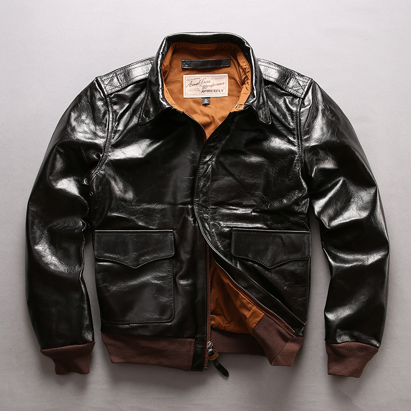 d40021b68 AVIREX FLY 2019 New Men's A2 Pilot Genune Leather Jacket Real Vegetable  Tannin Cowskin Casual Jackets Spring Autumn Russia Coats